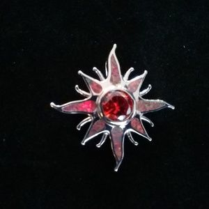 Jewelry - Silver sun with red opal pendant